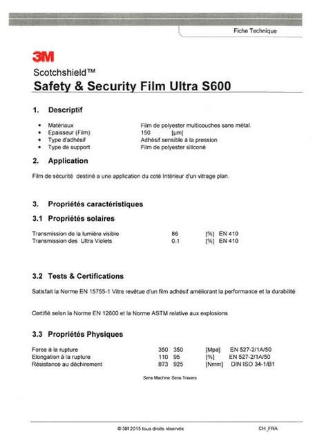 3M Ultra S600 – fiche technique