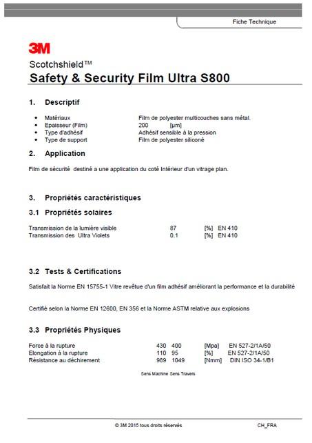 3M Ultra S800 – fiche technique